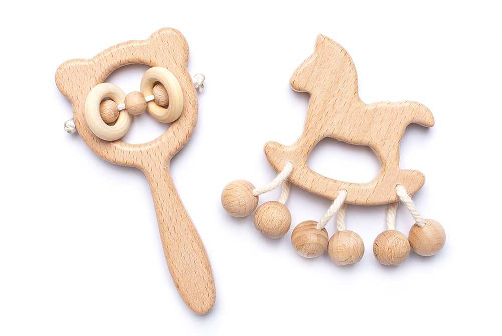 Baby wooden ring rattle
